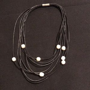 Jewelry - Leather like pearl multi strand necklace